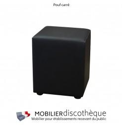 Pouf carré similicuir noir