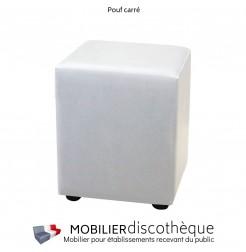 Pouf carré similicuir blanc