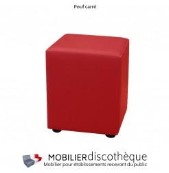 Pouf carré similicuir rouge